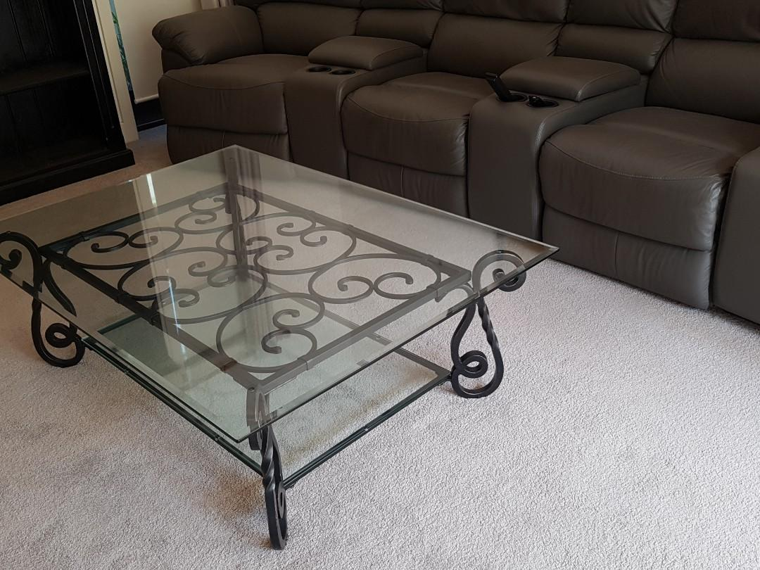 FORGED SOLID IRON 2 TIERED GLASS TOP COFFEE TABLE - FRENCH STYLE - REDUCED