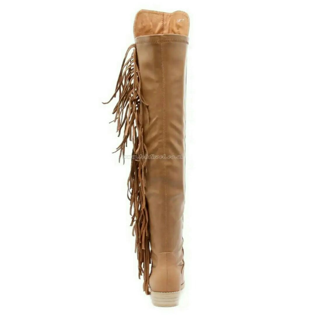 New in Box Mollini Over The Knee Tan Leather Fringe Boots EU 36 RRP $340