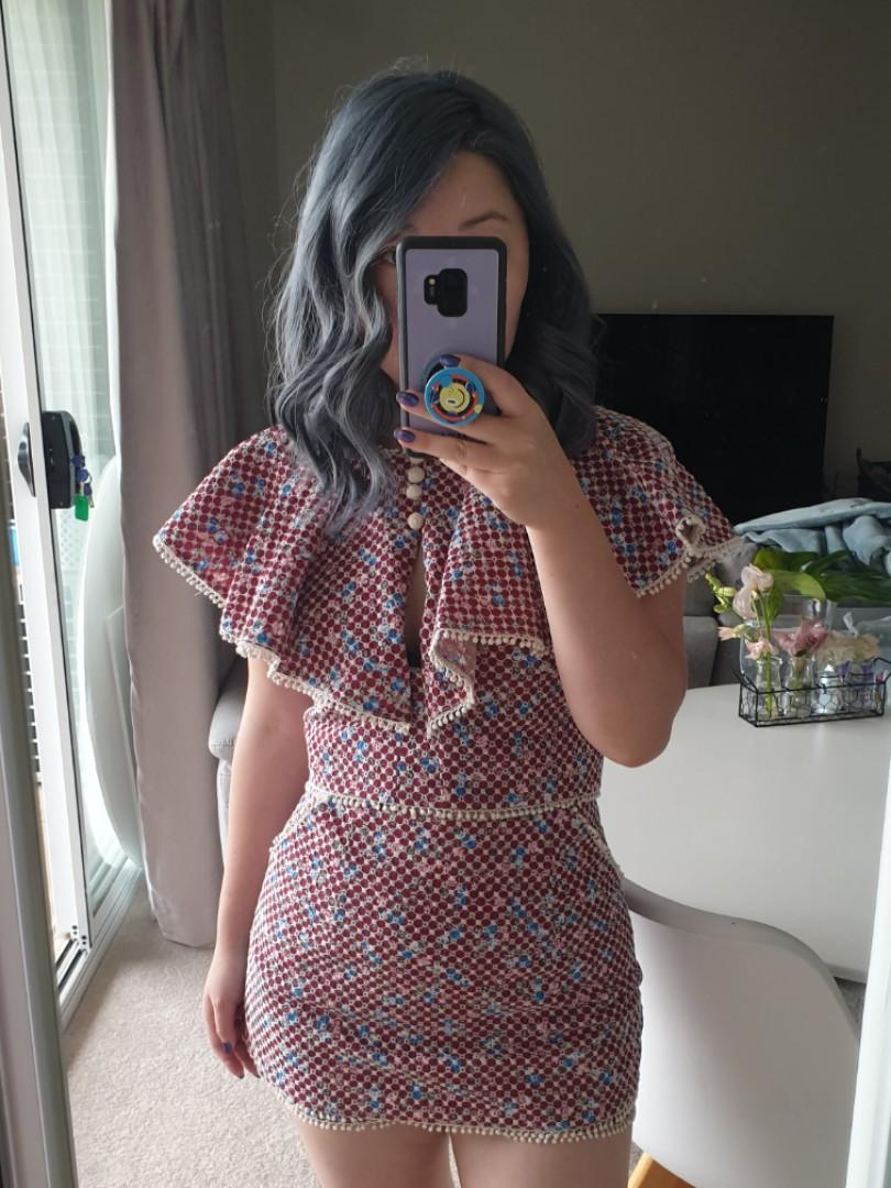 Pink and blue lace shorts which looks like a skirt