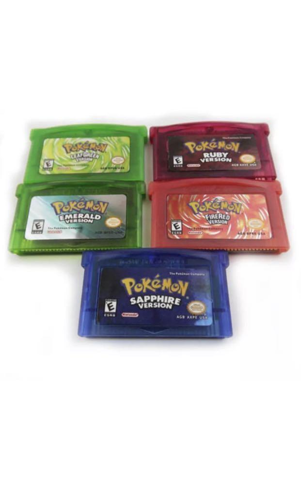 Pokemon Set Leaf Green Fire Red Ruby Sapphire Emerald Gameboy Advance GBA Gift