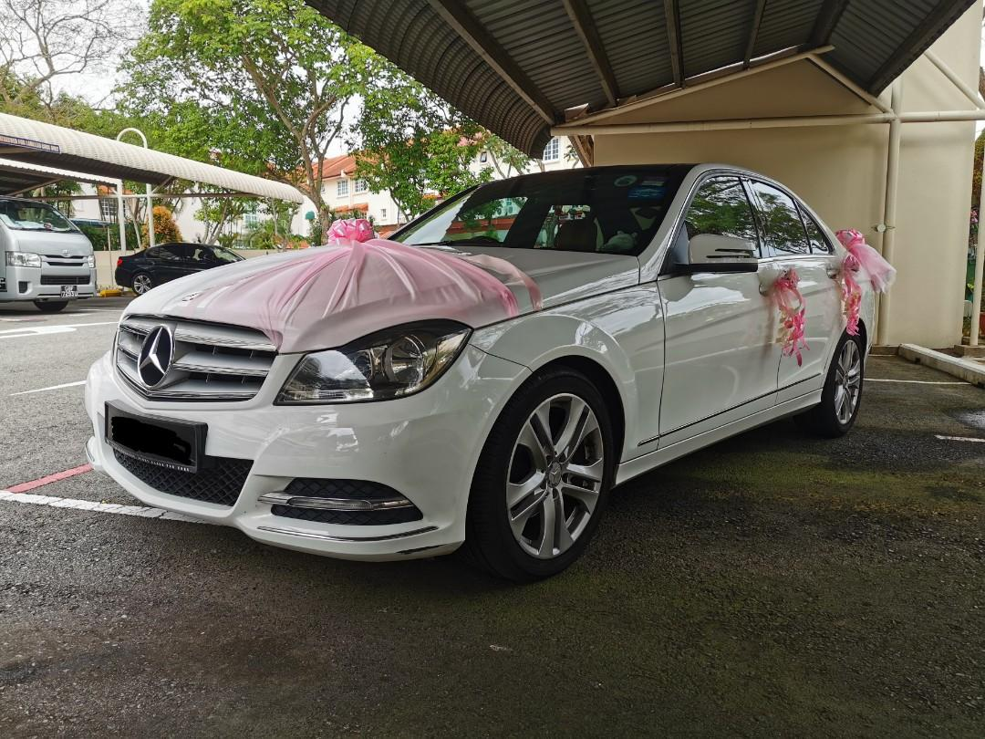 Lovely  White Mercedes Benz C180 with nice 2-digit number and Sun Roof for Wedding Rental