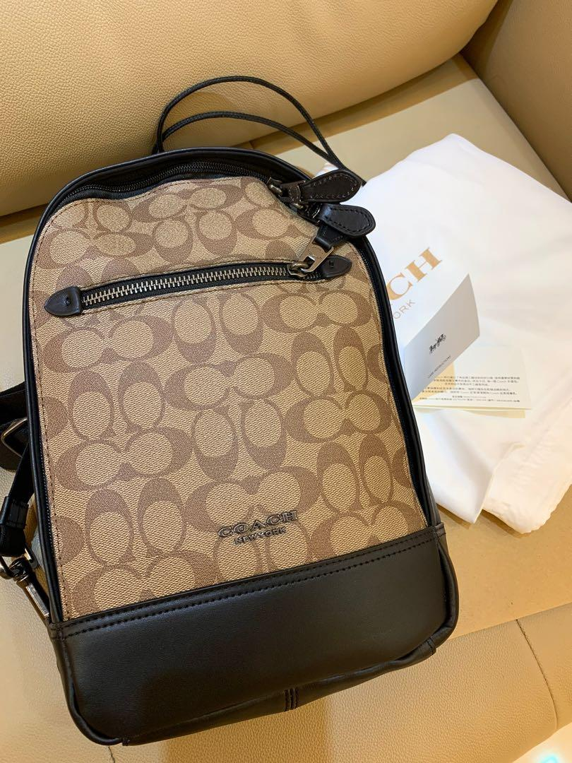 Ready stock authentic coach 37573 men chest bag graham pack in signature canvas