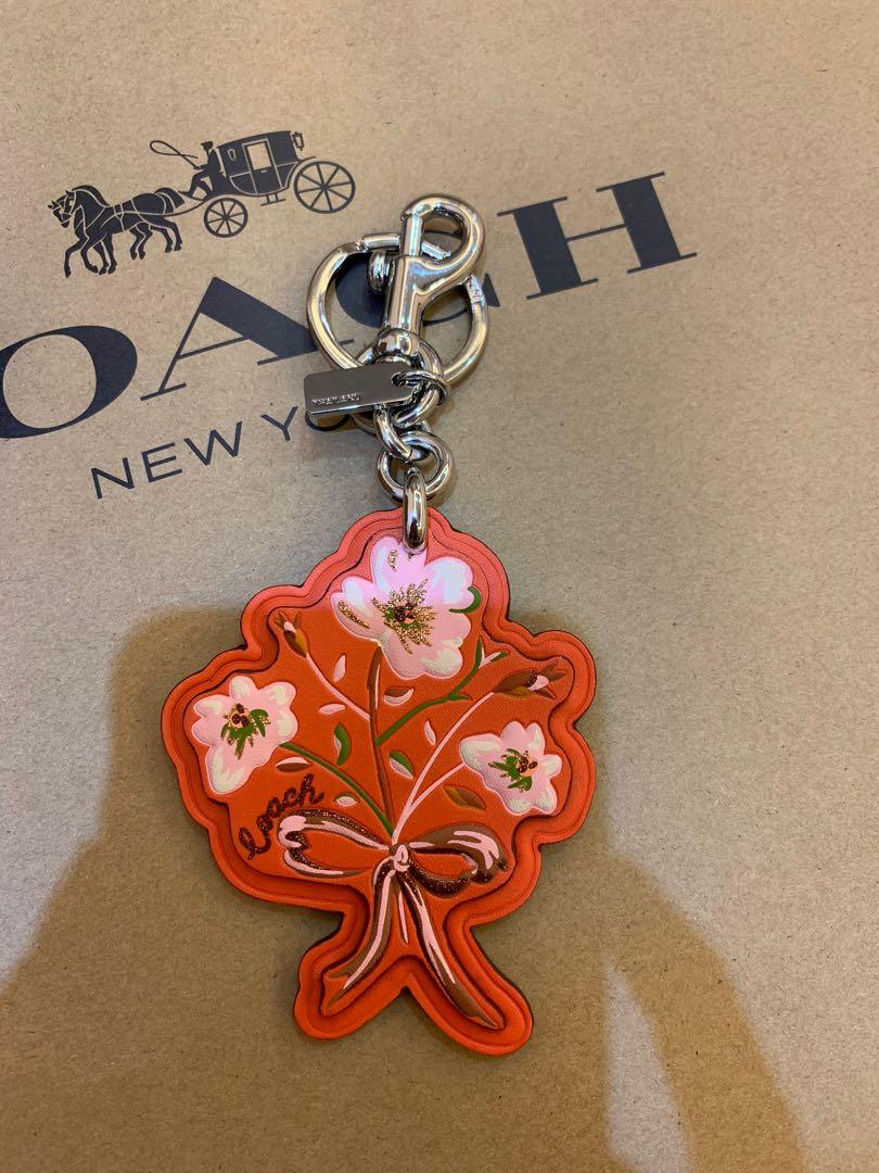 Ready stock authentic Coach Keychain in floral collection shoulder bag