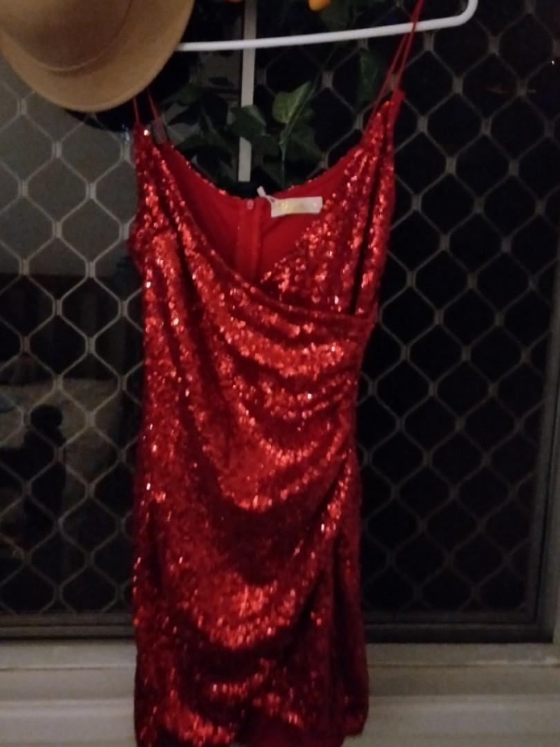 [Rent] Red Sequin Semi-Formal Dress: Spaghetti Strap/V-Neck