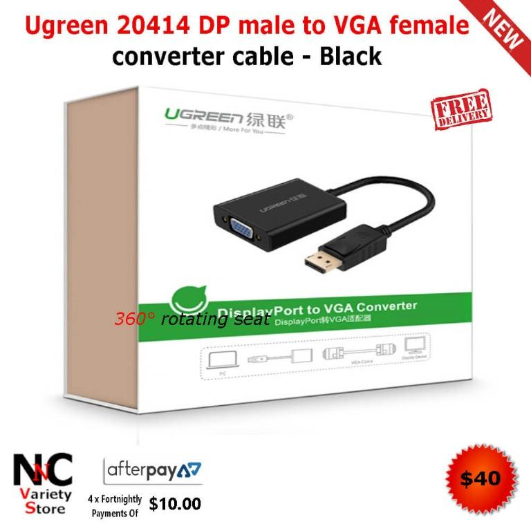 Ugreen 20414 DP male to VGA female converter cable – Black