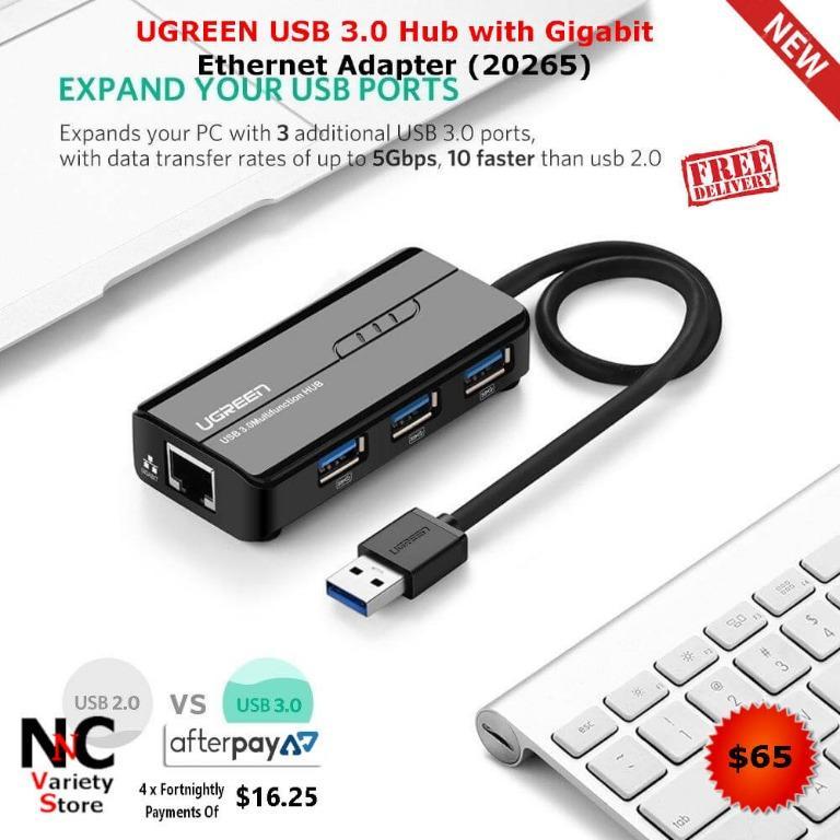 UGREEN USB 3.0 Hub with Gigabit Ethernet Adapter (20265)