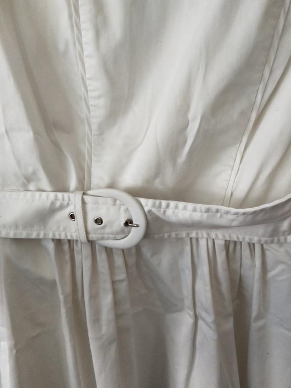 Veronika Maine White Sleeveless Belted Fit & Flare Dress Sz 12