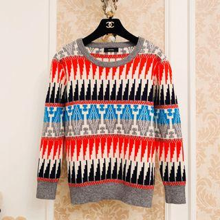 專櫃品牌ocrhily 撞色拼色紅藍白黑灰 幾何圖形圖騰 大圓領 高磅數柔軟超彈性針織毛衣 名牌質感長袖針織上衣衫