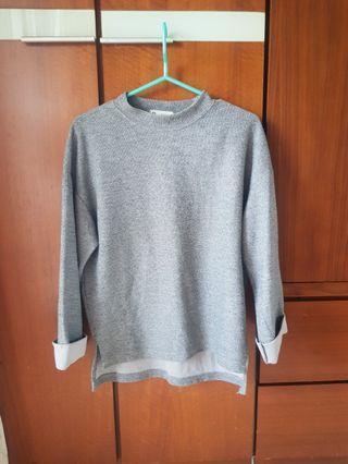 日系風氣質灰色七分袖上衣 (M)