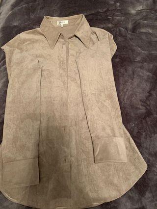 Babaton suede long sleeve blouse