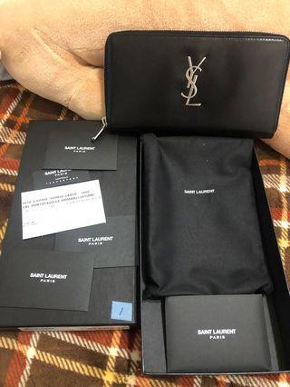 YSL   SAINT LAURENT 銀標YSL 絲滑面小牛皮拉鍊長夾