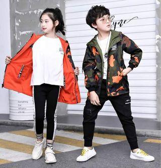 兒童中大童韓版雙面穿衝鋒衣外套