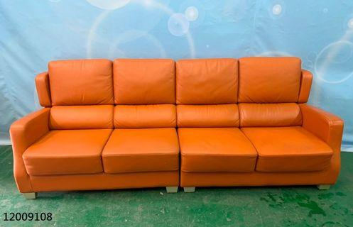 【弘旺二手家具生活館】二手/中古 橘色皮沙發 麂皮沙發組 沙發床 L型沙發 沙發腳椅 -各式新舊/二手家具 生活家電買賣