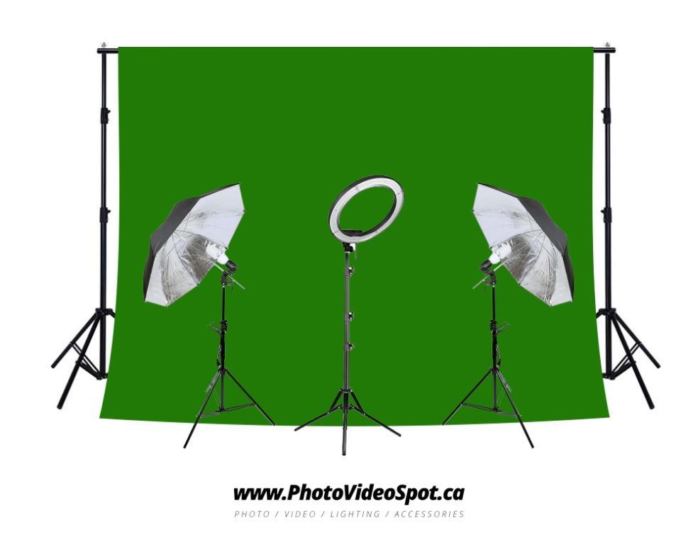 """13"""" LED Diva Ring Light + Umbrella Lighting Kit + Green Background Kit (SPECIAL!!)"""