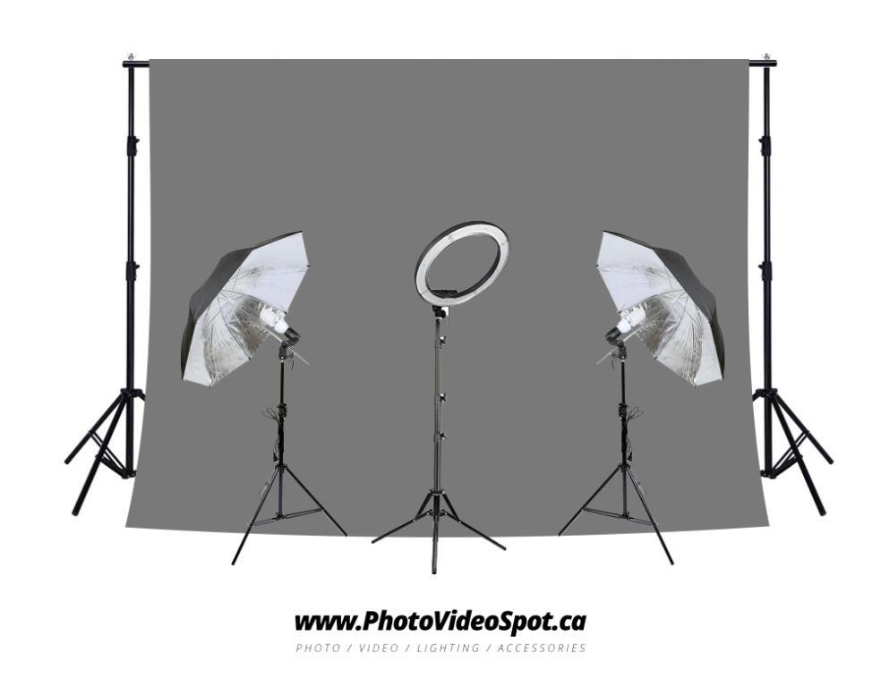 """13"""" LED Diva RIng Light + Umbrella Lighting Kit + Grey Background Kit"""