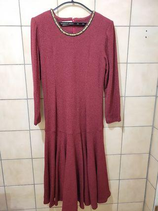 棗紅色冬季長洋裝 (XL) #出清2019