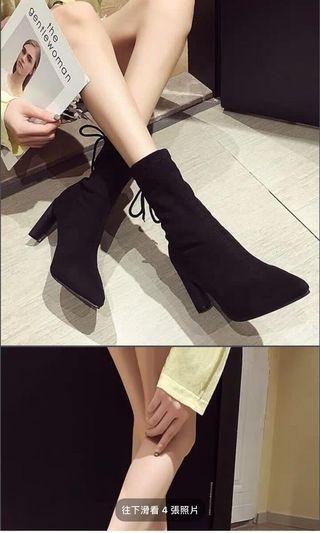 高跟鞋 尖頭 靴子 短靴 絨布
