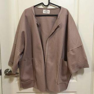 寬鬆毛呢罩衫大衣