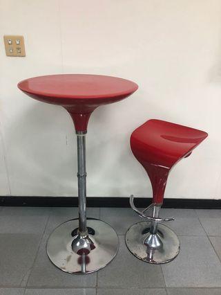 紅色吧台桌椅組 一桌一椅