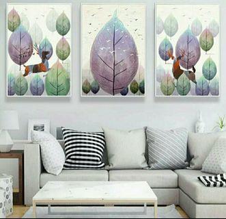 In stock - 3pcs Abstract joyfulness canvas paintings