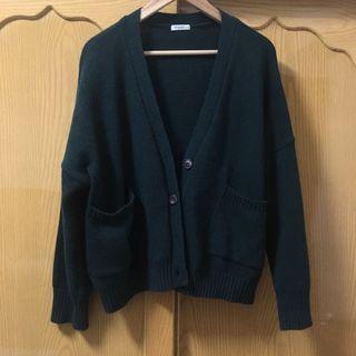 [正韓]30%羊毛綠色繭型外套