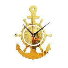 船錨舵手水手海盜船亞克力鏡面掛鐘個性3D墻掛鐘地中海風格71841