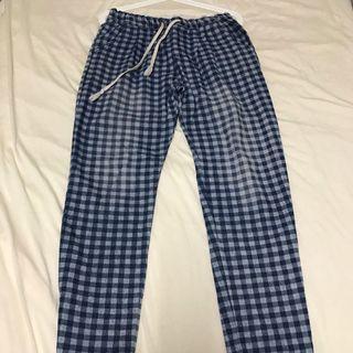 藍色格紋褲
