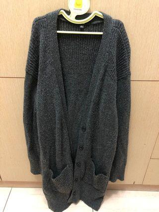 Uniqlo灰色羊毛大衣外套#出清2019