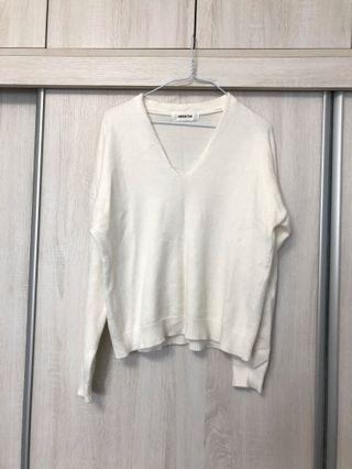 轉售RC代購 韓 軟襦柔白v領針織衫