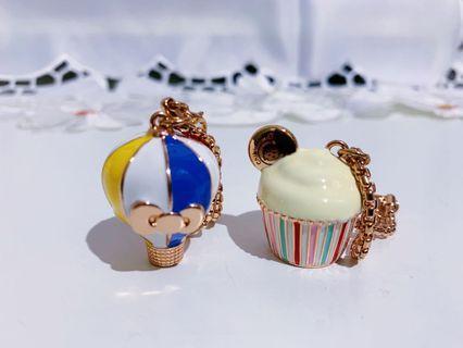 Hello Kitty X 櫻桃小丸子 聯名鑰匙圈 熱氣球+蛋糕杯 合售