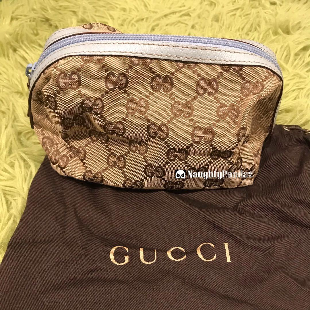 Brand New Gucci Monogram Brown Canvas Blue Leather Cosmetic Pouch Bag Case