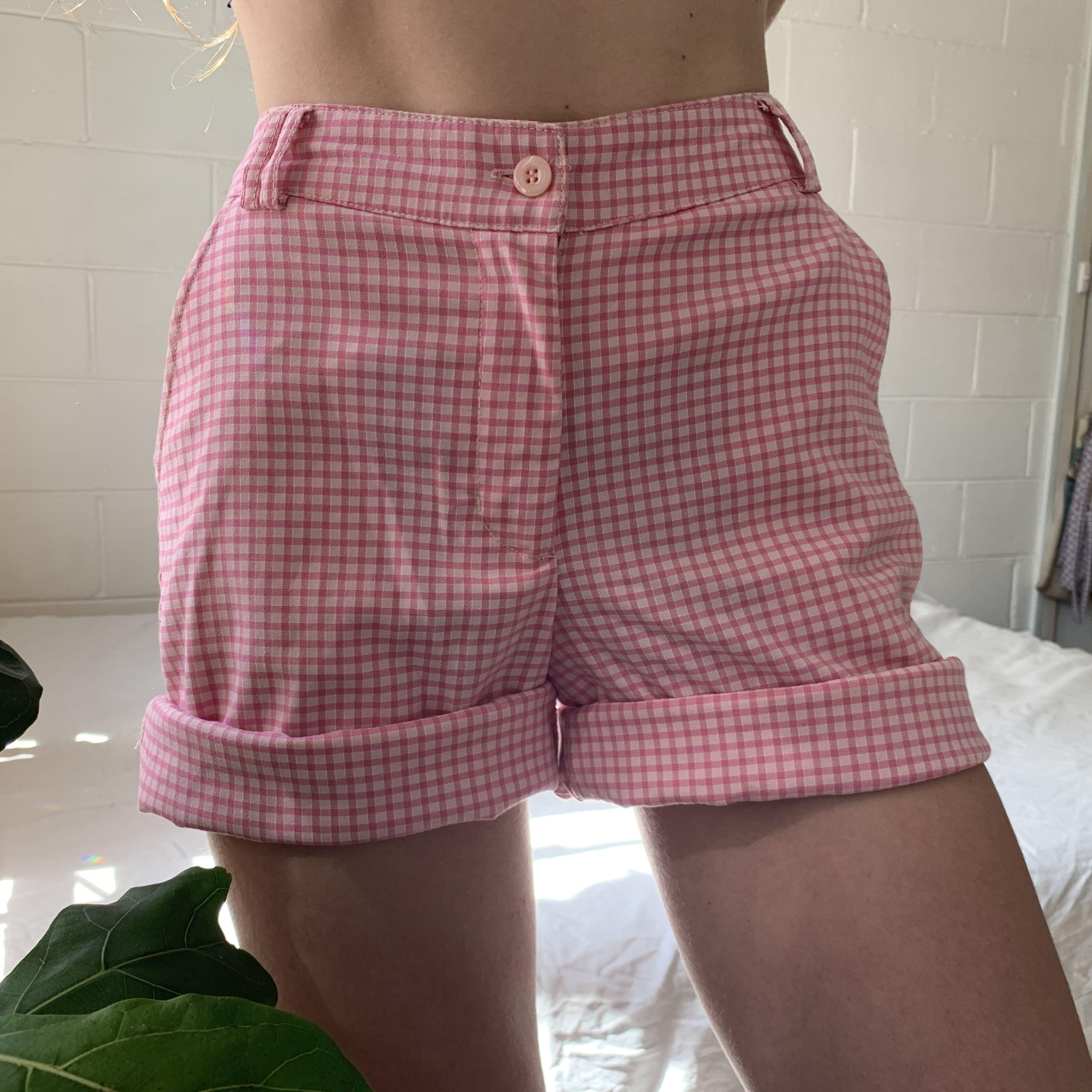 cutest vintage high waisted pink checks/ gingham shorts