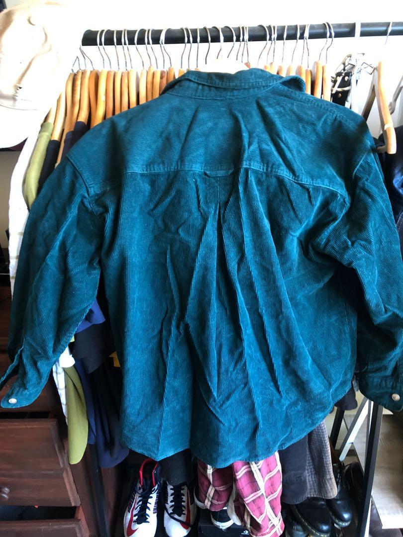 Heavy corded shirt green medium ITSU *short sleeves