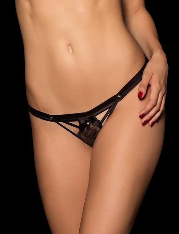 HONEY BIRDETTE Michelle Black Silver Bra Brief Thong Set