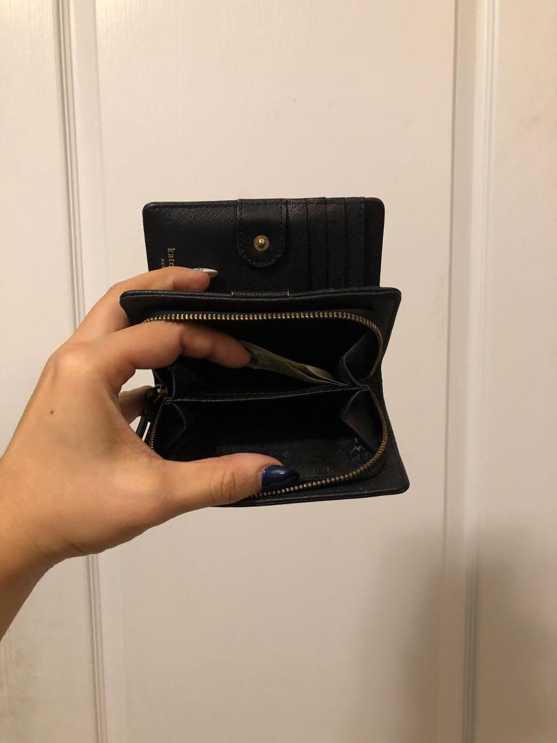 Kate spade Black saffiano leather double fold wallet
