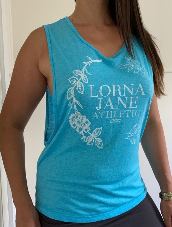 LORNA JANE Blue White Floral Logo Activewear Workout Muscle Tank Sz M AU 12