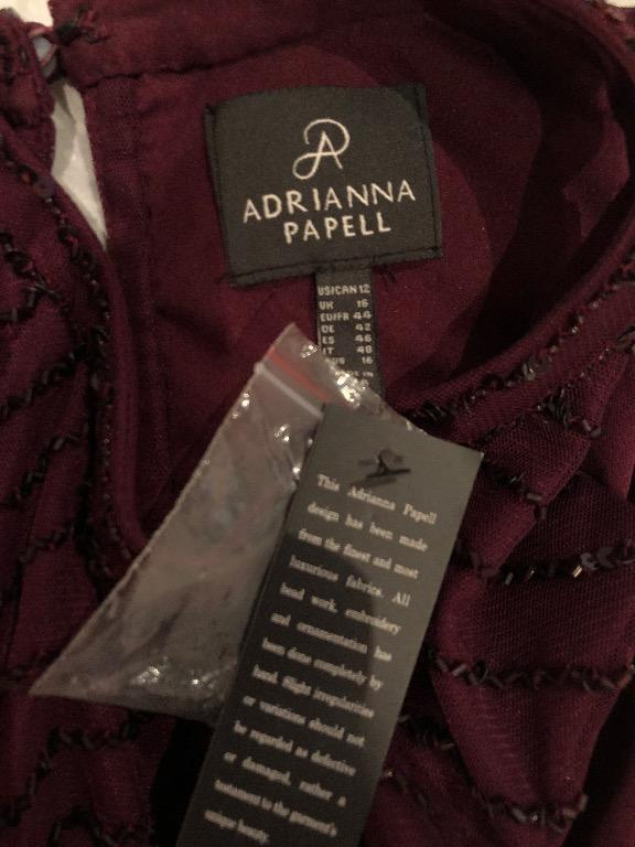 NEW WITH TAGS Adrianna Papell Art Deco Beaded Blouson Dress - Colour: Cassis - Size: 12