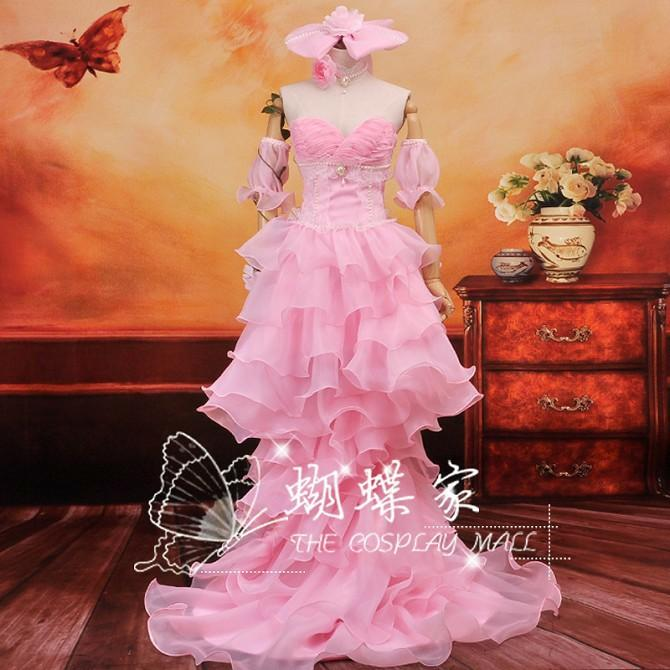 RENT/SALE Vocaloid Rin Haitoku No Hana/Corrupted Flower Cosplay Costume Pink Gown