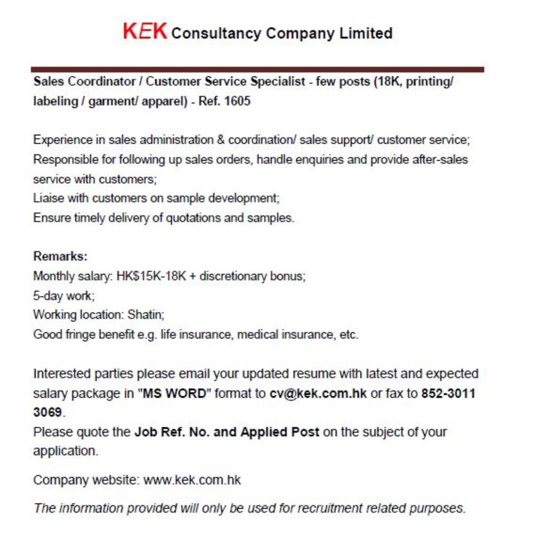 Sales Coordinator/ CS Specialist (18K, garment) - Ref. 1605