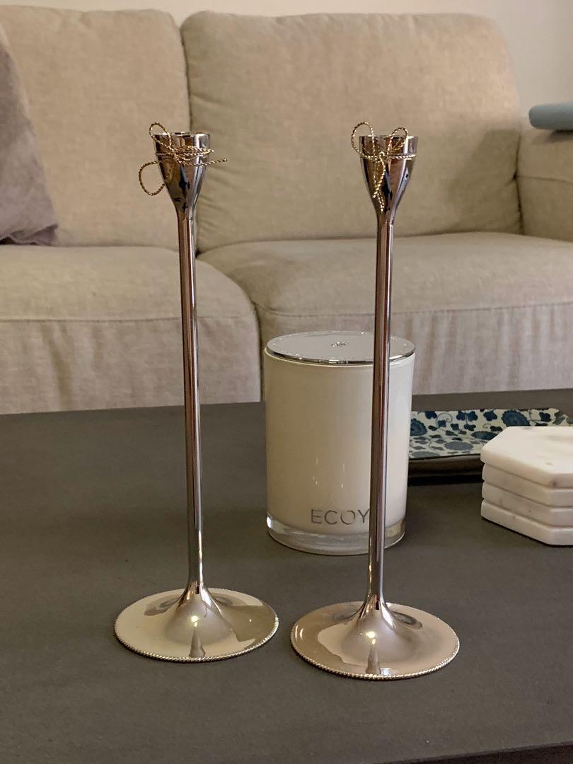 Vera Wang Wedgewood Love Knots Sliver Taper Candlestick Set