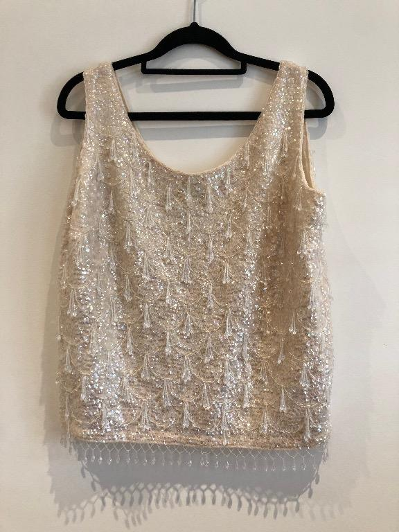 Vintage beaded top - Ivory - Size 40 (fits sizes 12-14)