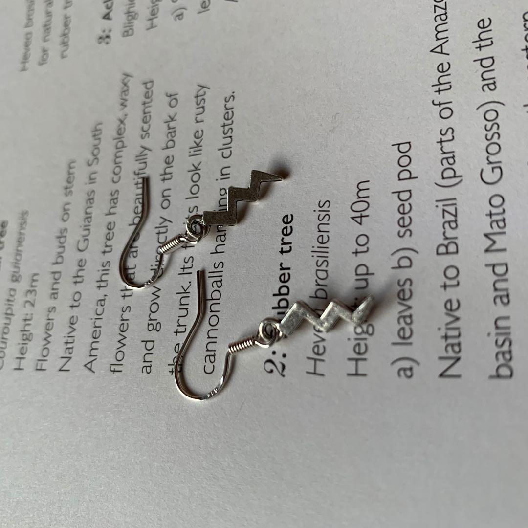 ZAP! silver lightning bolt dangly earrings ⚡️handmade