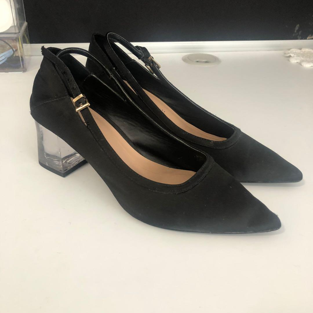 ZARA BLACK POINTED CHUNKY CLEAR HEELS SHOES SIZE 37