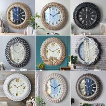 歐式掛鐘客廳豪華靜音時鐘臥室家用創意個性時尚大鐘表石英鐘墻飾80761