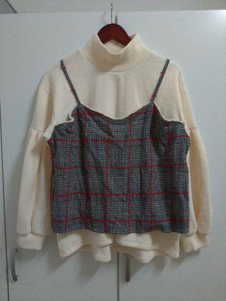 森林系假兩件式格紋上衣  代售