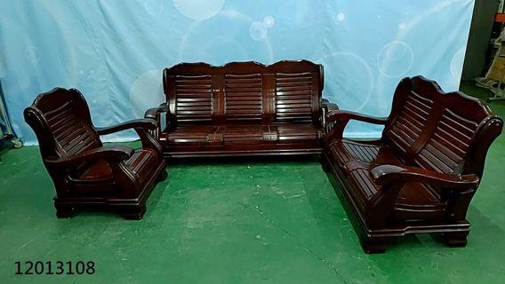 【弘旺二手家具生活館】二手/中古 胡桃色1+2+3木組椅 貓抓皮沙發 沙發床 L型沙發-各式新舊/二手家具 生活家電買賣