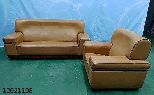 【弘旺二手家具生活館】二手/中古 土黃色1+3人座沙發 沙發床 L型沙發 貓抓皮沙發 -各式新舊/二手家具 生活家電買賣