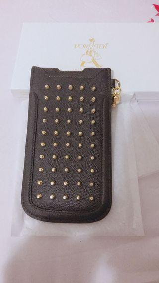 全新百貨專櫃購買 porter 咖啡皮革真皮防刮金色卯釘 手機袋 iPhone