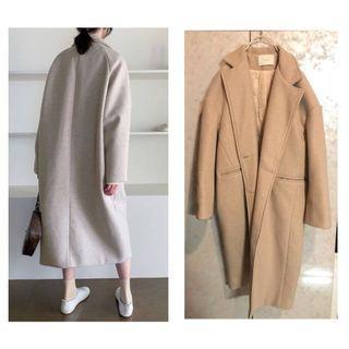 米杏色繭型厚款大衣外套