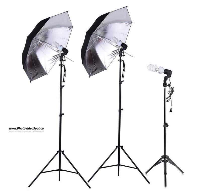 3-Point Photo Video Continuous Umbrella Lighting Kit / PhotoVideoSpot . ca